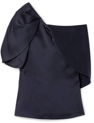 Peter Pilotto One-shoulder Satin Top - Navy