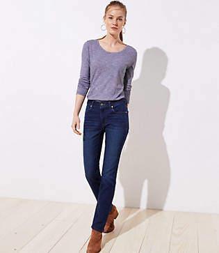 LOFT Petite Curvy Straight Leg Jeans in Dark Indigo Wash