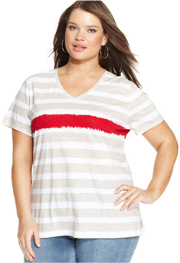 Style&Co. Sport Plus Size Short-Sleeve Striped Tee