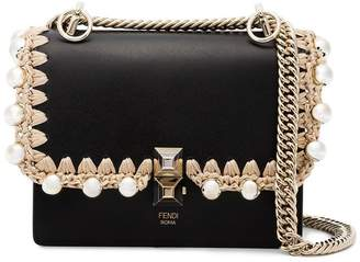 Fendi Black Kan I small leather bag with crochet trim