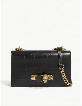 Alexander McQueen Black and Gold Knuckleduster Crocodile Embossed Leather Satchel