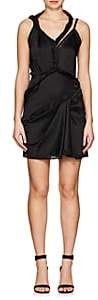 Alexander Wang WOMEN'S TWISTED-STRAP STRETCH-SILK CHARMEUSE DRESS-BLACK SIZE 2