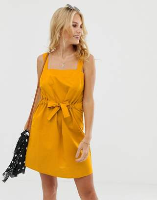 Asos Design DESIGN mini square neck sundress with ruched drawstring waist
