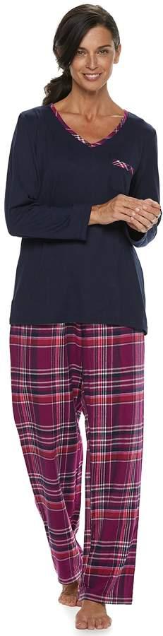 Petite Croft & Barrow Tee & Flannel Pants Pajama Set