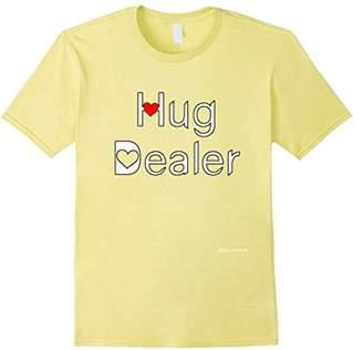 Love Hearts HUG DEALER - Funny Tshirt - Red font