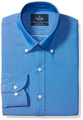 Buttoned Down Men's Slim Fit Button-Collar Solid Non-Iron Dress Shirt (No Pocket)