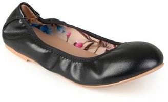 Brinley Co. Women's Scrunch Flexible Stretchy Side Round Toe Ballet Flats
