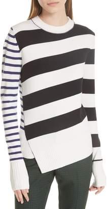 Jason Wu GREY Queen Asymmetrical Stripe Merino Wool Sweater