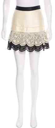 Skaist-Taylor Silk Paneled Eyelet Skirt