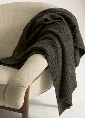 Vince Cable-Knit Wool and Cashmere Blanket