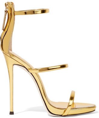 Giuseppe Zanotti - Harmony Metallic Leather Sandals - Gold $845 thestylecure.com