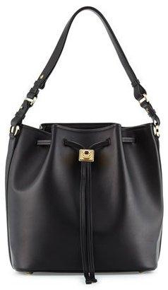 Salvatore Ferragamo Sansy Leather Bucket Bag, Nero $1,950 thestylecure.com