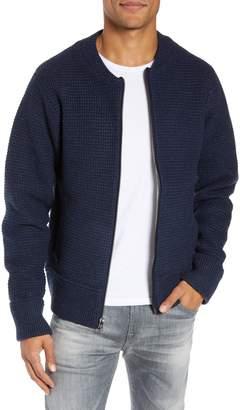 Schott NYC Waffle Stitch Zip Front Wool Blend Sweater
