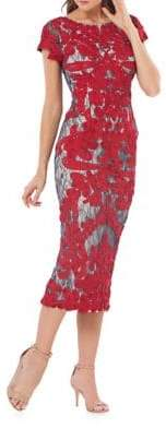 JS Collections Stitched Floral Midi Dress