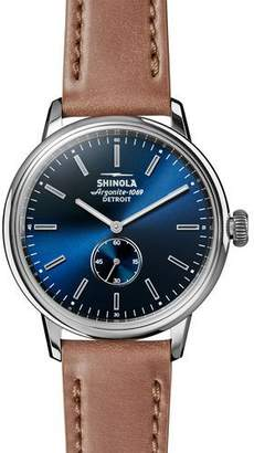 Shinola Men's 42mm Bedrock Chronograph Watch, Midnight Blue/Natural