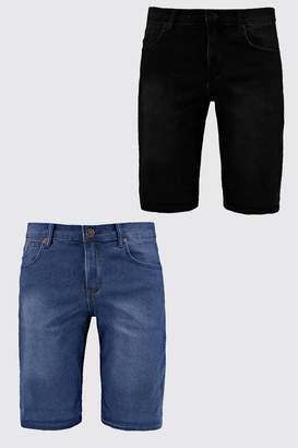 boohoo 2 Pack Denim Shorts In Skinny Fit
