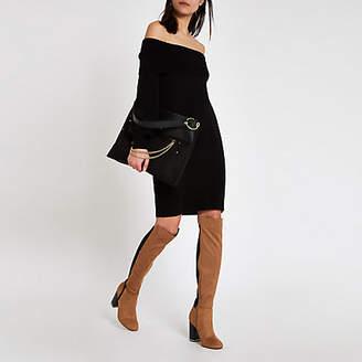 River Island Black bardot neck sweater dress