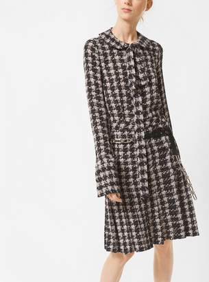 Michael Kors Houndstooth Silk-Georgette Bow Blouse