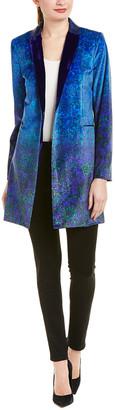 Elie Tahari Leather-Trim Coat