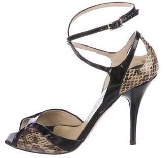 Jimmy Choo Snakeskin Ankle-Strap Sandals