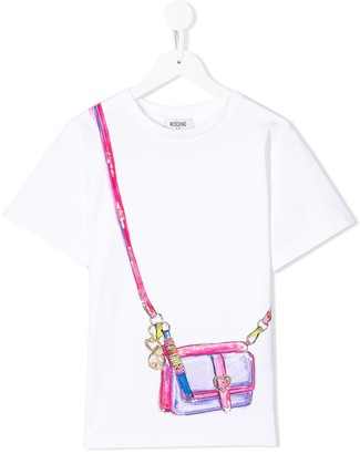 Moschino Kids logo bag print T-shirt