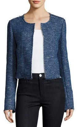 Theory Ualana Raw-Edge Tweed Jacket, Blue $395 thestylecure.com