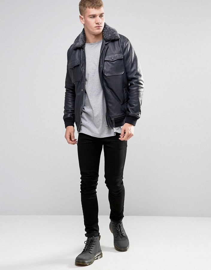 Pepe Jeans Pepe Conduit Leather Bomber Jacket Shearling ...
