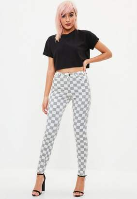 Missguided Gray Highwaisted Plaid Skinny Jean