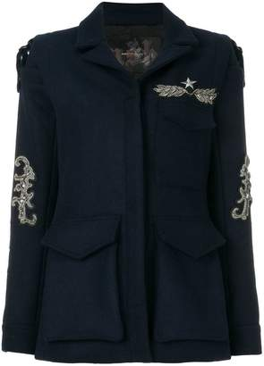 Ash single-breasted embellished coat