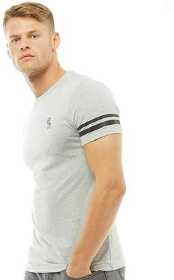 Fluid Mens Striped Sleeve T-Shirt Grey Marl/Black
