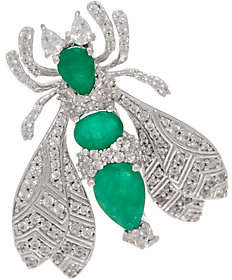 QVC 5.00 cttw Emerald & White Zircon Bee Pin,Sterling