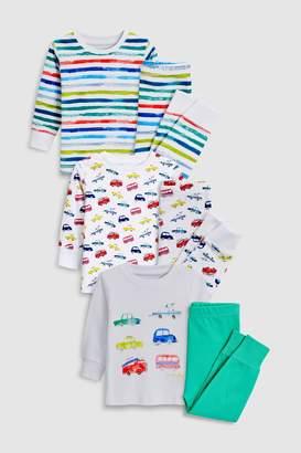 Boys White Car/Stripe Snuggle Fit Pyjamas Three Pack (9mths-8yrs)