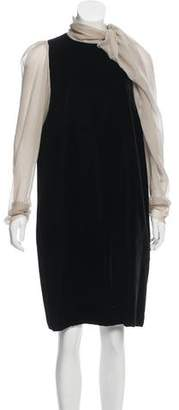 Lanvin Silk-Paneled Velvet Dress