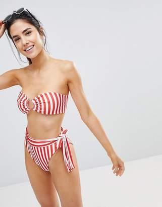 PrettyLittleThing Striped Bandeau Bikini Top