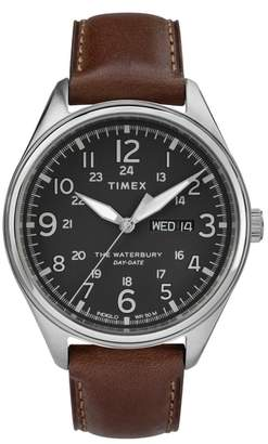 Timex R) Waterbury Leather Band Watch, 42mm