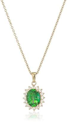 Rainforest Women's Yellow Gold Plated Sterling Silver Swarovski Natural Topaz Oval Pendant Necklace