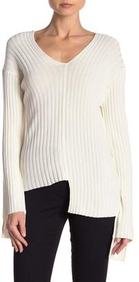 Helmut Lang Ribbed V-Neck Off-the-Shoulder Sweater