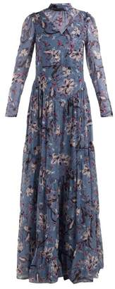 Erdem Marcia Tulip Dream Print Silk Gown - Womens - Blue Multi