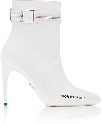 Off-White Women's Rubberized-Heel Leather Ankle Booties