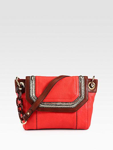 Milly Zoey Snake-Embossed Leather Shoulder Bag