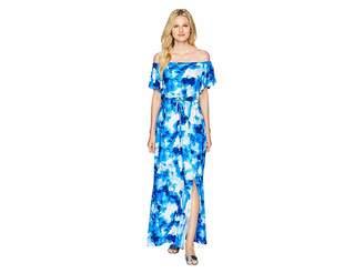 Nine West ITY Off-the-Shoulder Blouson Maxi Dress with Waist Tie Women's Dress