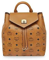 MCM Women's Essential Visetos Small Leather Logo Backpack