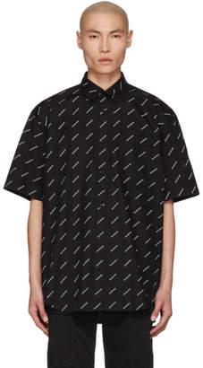 Balenciaga Black and White Logo Normal Fit Shirt