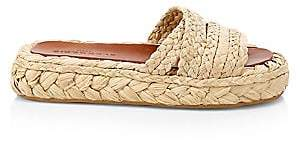 Clergerie Women's Idalie Raffia Wedge Slides Sandals