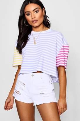 boohoo Pastel Contrast Stripe Boxy Crop