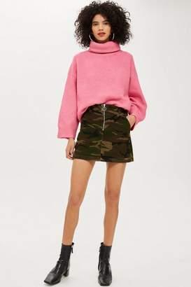 Topshop Petite Camouflage Corduroy Skirt