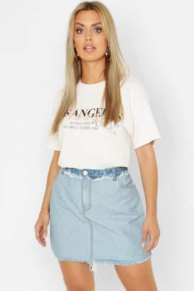 0a2d7ce2988f boohoo Plus Frayed Hem Detail Denim Skirt
