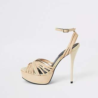River Island Cream leather strappy platform heel sandal