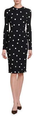 Dolce & Gabbana Long-Sleeve Polka-Dot Cashmere Bodycon Dress