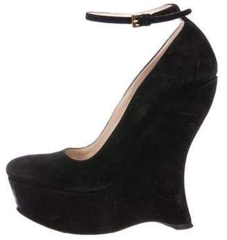 Prada Suede Ankle Strap Wedges